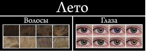 цвет глаз и волос цветотипу лето
