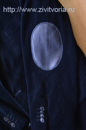 кожаная заплатка на локте на мужском пиджаке