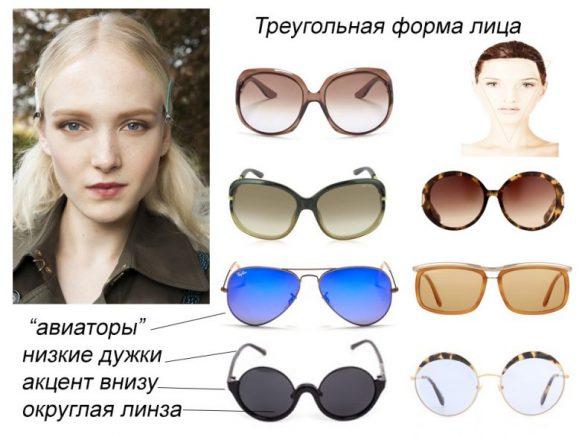 девушка с треугольной формой лица и подходящие ей очки