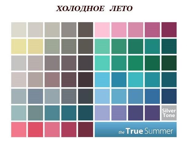 палитра цветов для цветотипа холодное контрастное лето