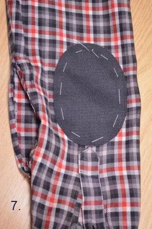 приметанная заплатка на локоть рубашки