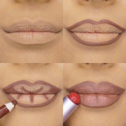 поэтапно красят губы карандашом