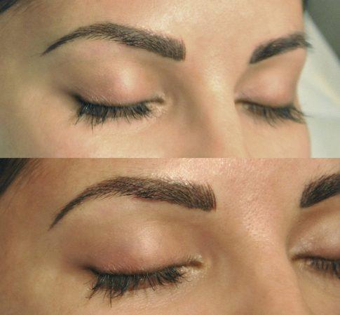 брови после перманентного макияжа и после коррекции